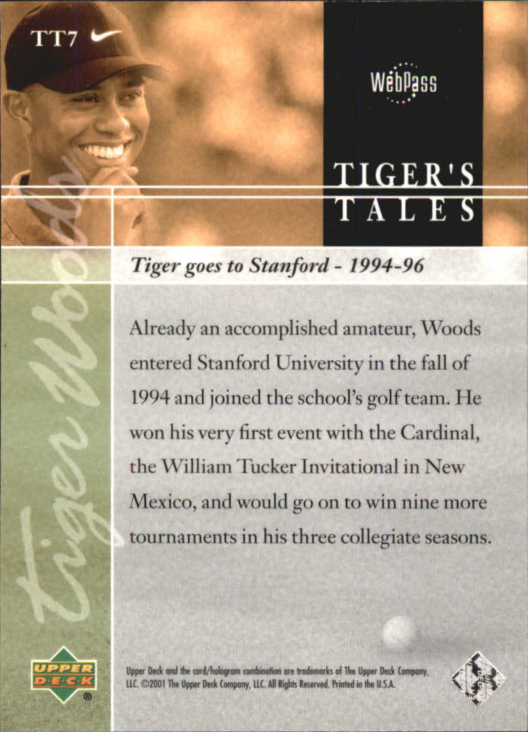 2001 Upper Deck Tiger's Tales #TT7 Tiger Woods back image