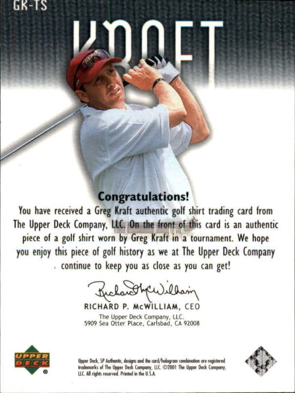 2001 SP Authentic Tour Swatch #FNTS Frank Nobilo back image