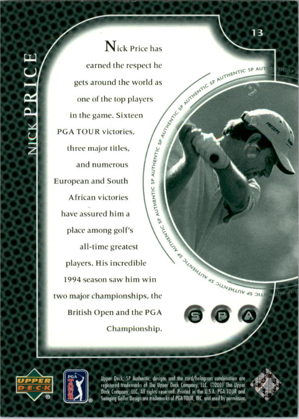 2001 SP Authentic Preview #13 Nick Price back image