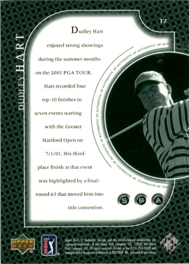 2001 SP Authentic Preview #17 Dudley Hart back image