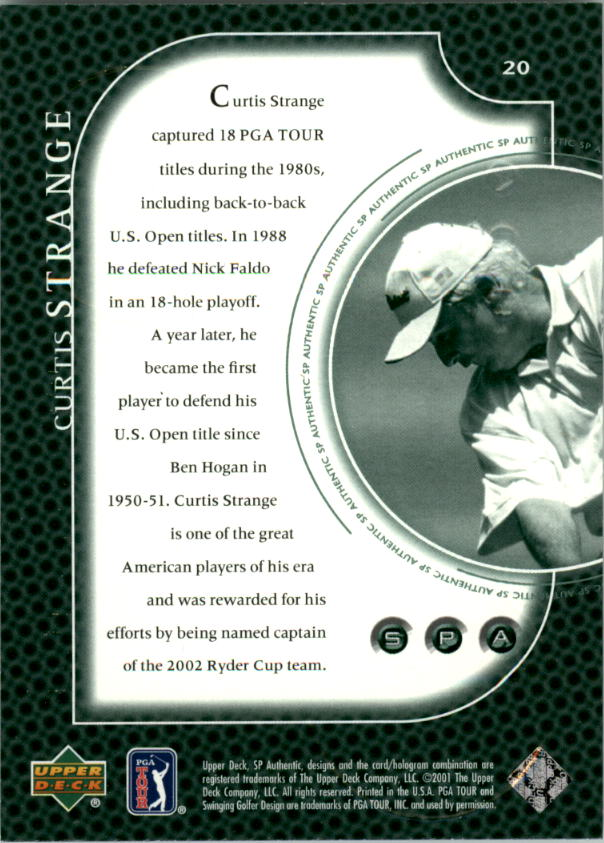 2001 SP Authentic Preview #20 Curtis Strange back image