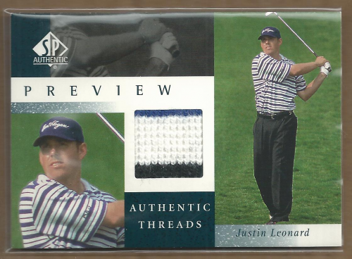 2001 SP Authentic Preview Authentic Threads #JLAT Justin Leonard