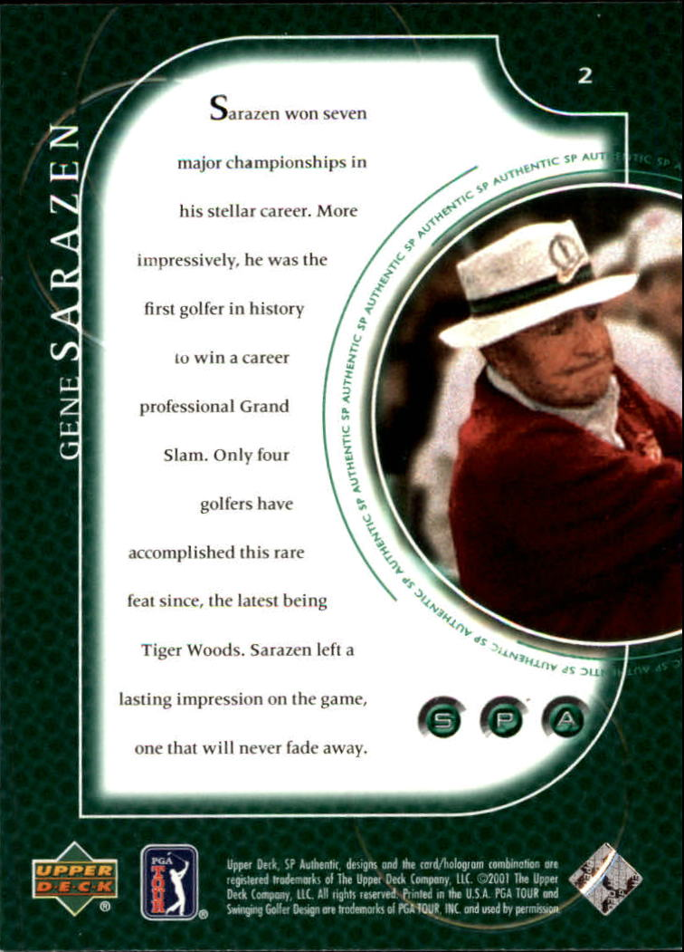 2001 SP Authentic #2 Gene Sarazen back image