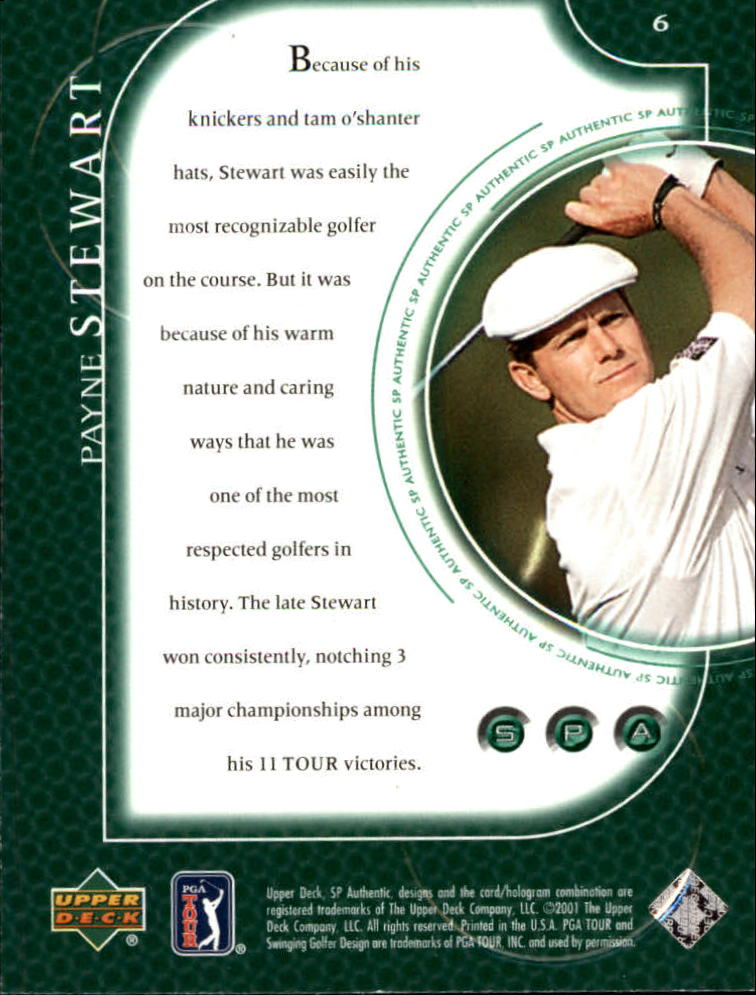 2001 SP Authentic #6 Payne Stewart back image