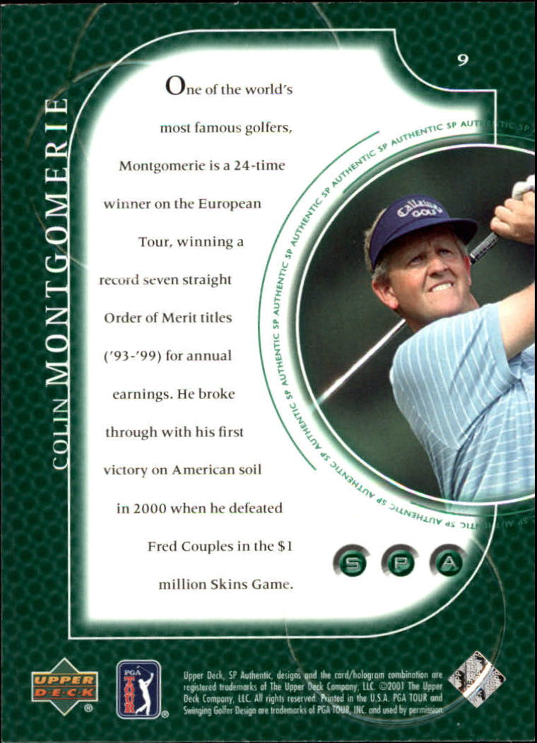 2001 SP Authentic #9 Colin Montgomerie back image