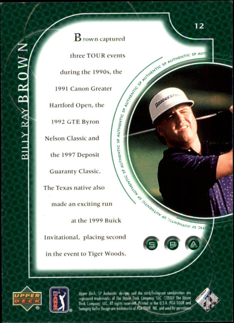 2001 SP Authentic #12 Billy Ray Brown back image