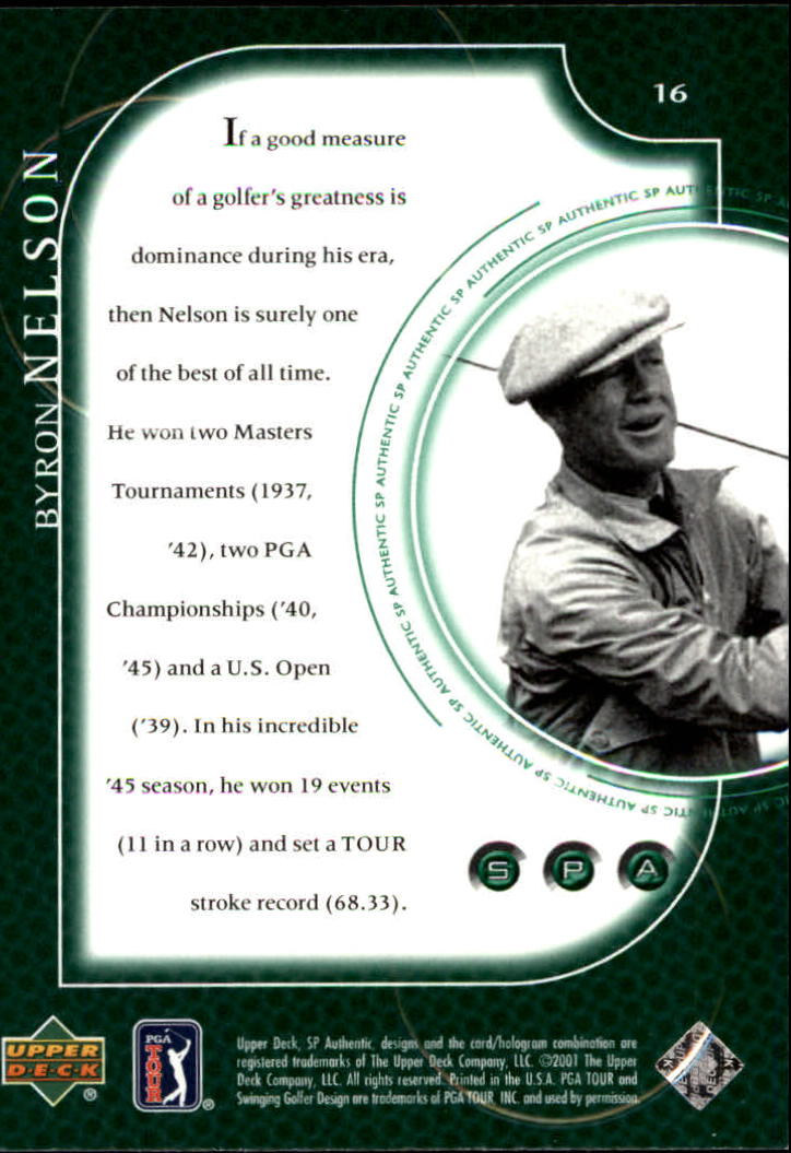 2001 SP Authentic #16 Byron Nelson back image