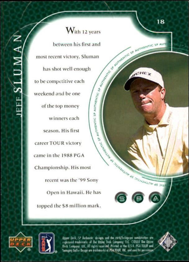 2001 SP Authentic #18 Jeff Sluman back image