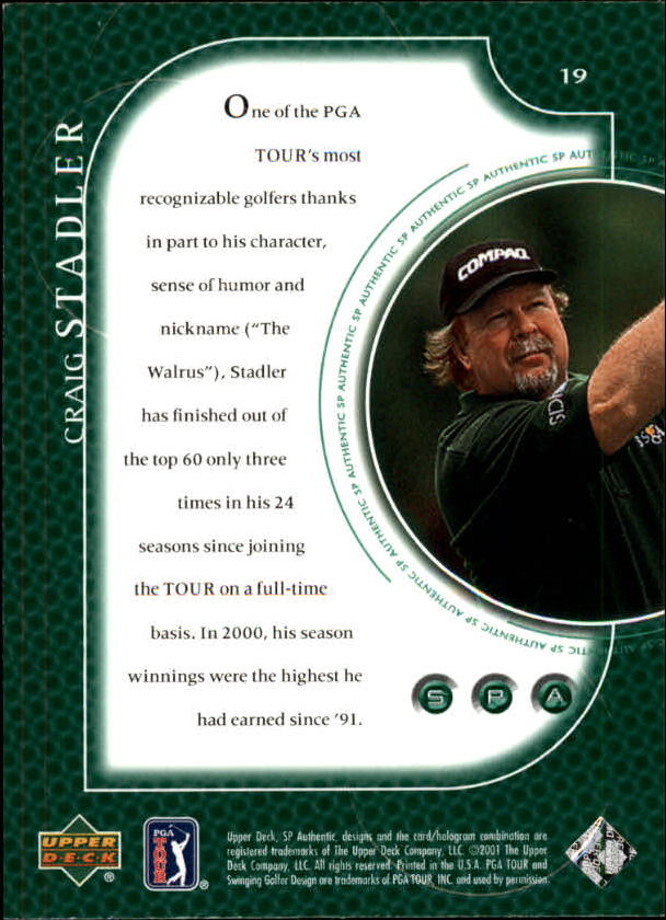 2001 SP Authentic #19 Craig Stadler back image