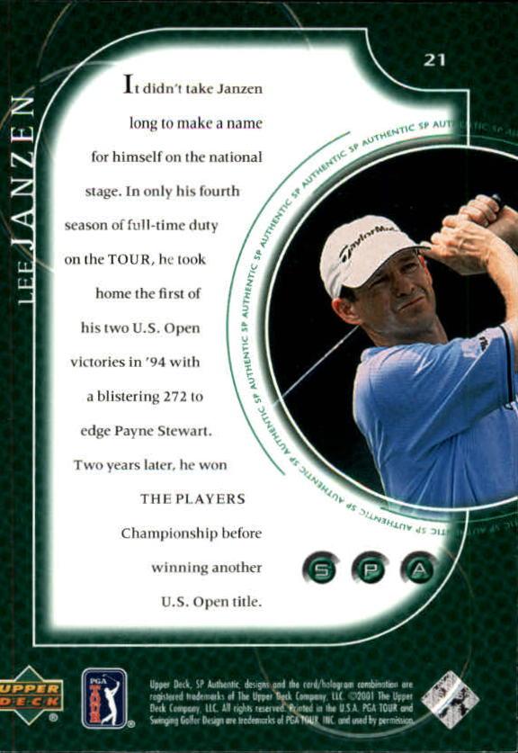 2001 SP Authentic #21 Lee Janzen back image