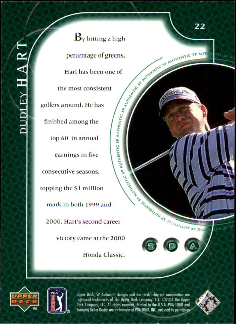 2001 SP Authentic #22 Dudley Hart back image