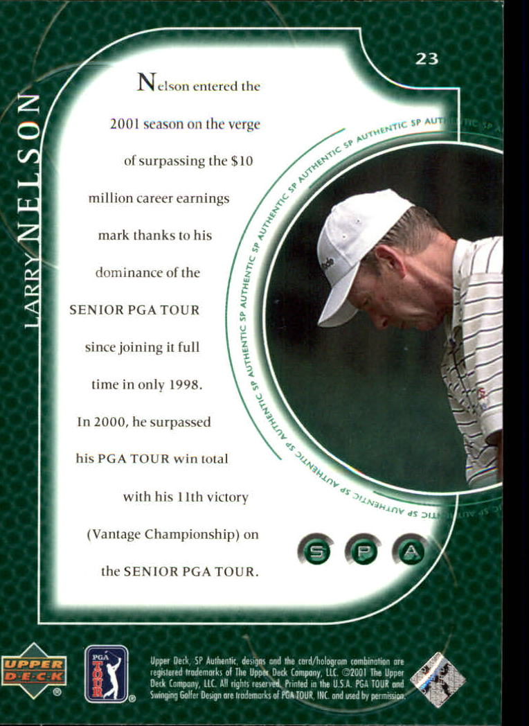 2001 SP Authentic #23 Larry Nelson back image