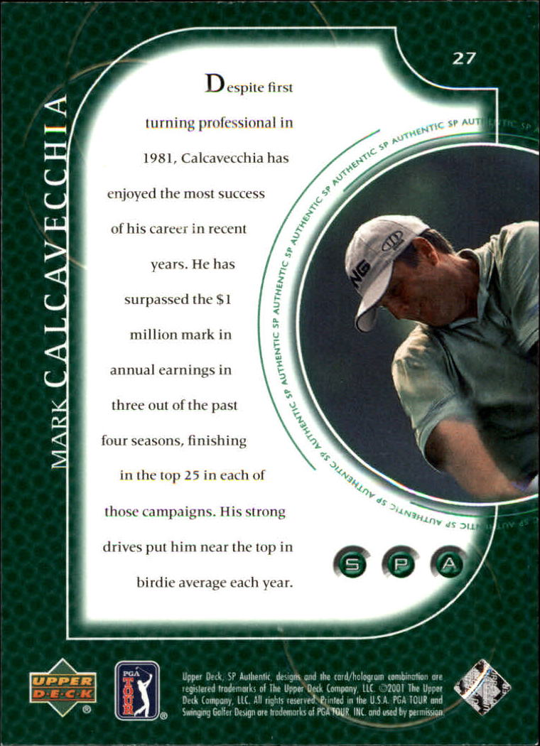 2001 SP Authentic #27 Mark Calcavecchia back image