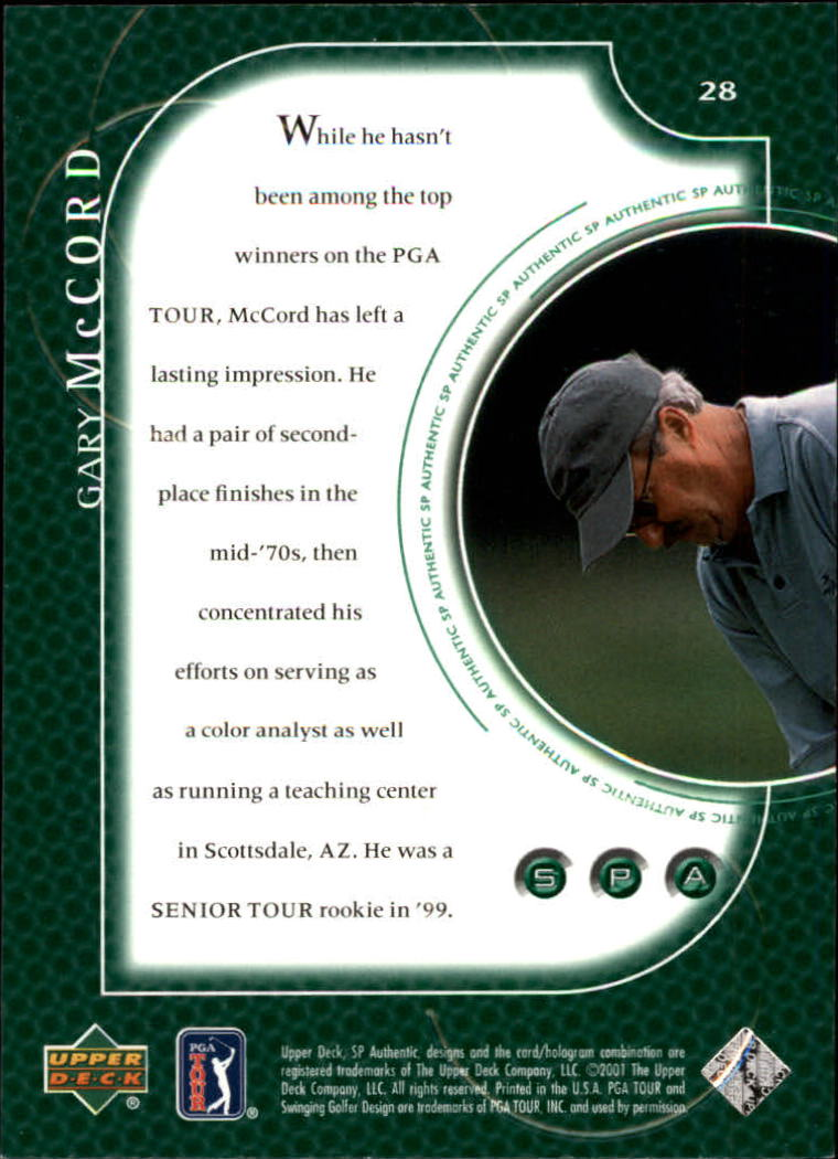 2001 SP Authentic #28 Gary McCord back image