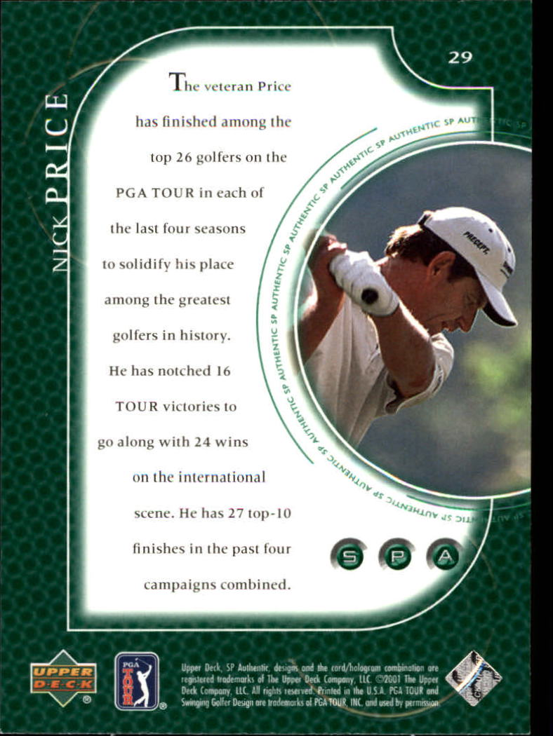 2001 SP Authentic #29 Nick Price back image