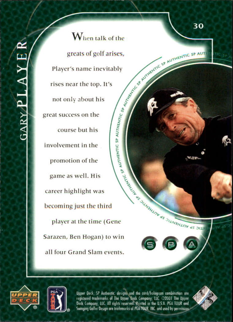 2001 SP Authentic #30 Gary Player back image