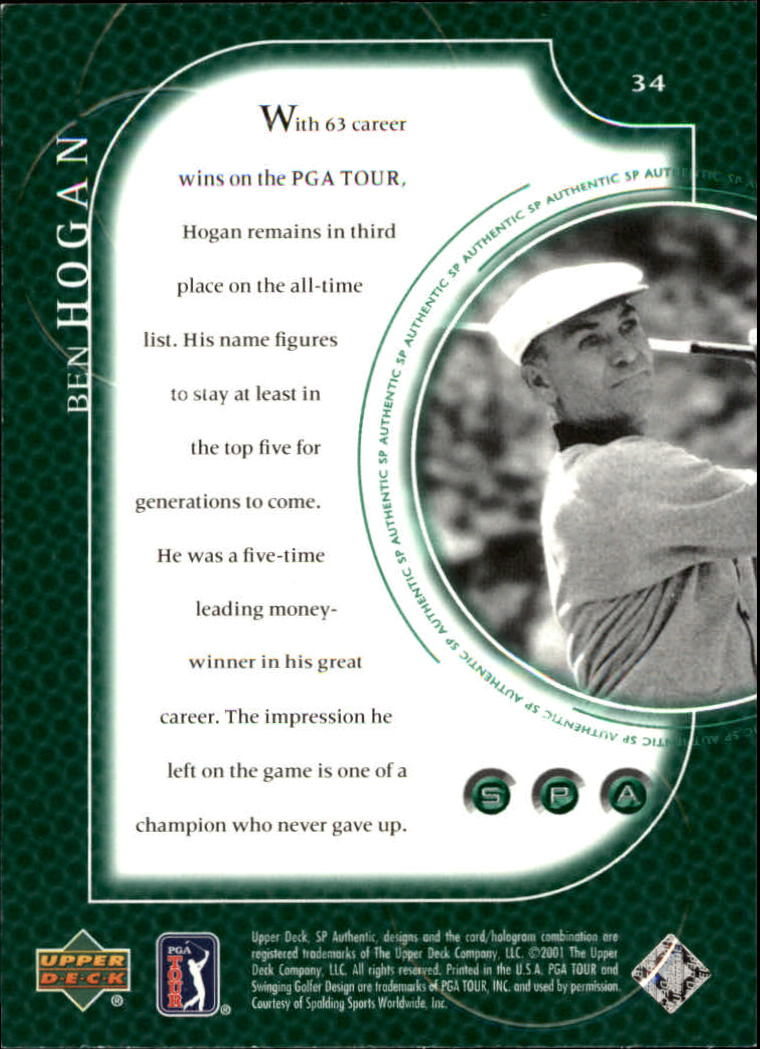 2001 SP Authentic #34 Ben Hogan back image