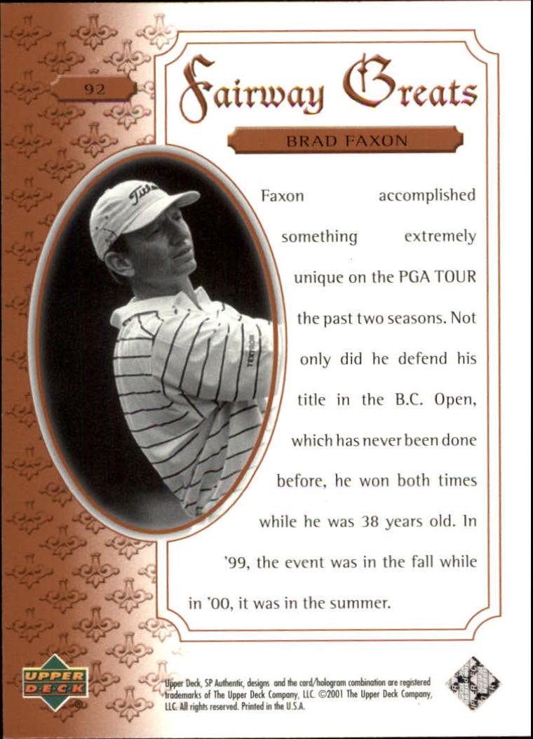 2001 SP Authentic #92 Brad Faxon FG back image