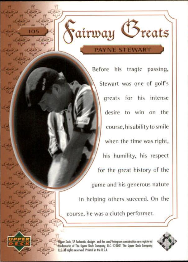 2001 SP Authentic #105 Payne Stewart FG back image