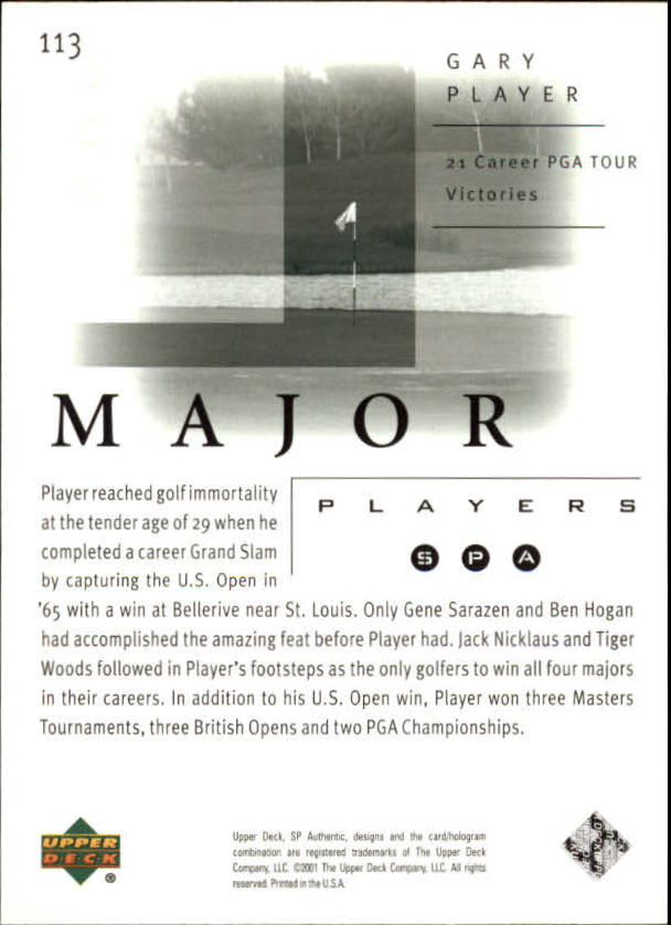 2001 SP Authentic #113 Gary Player MP back image