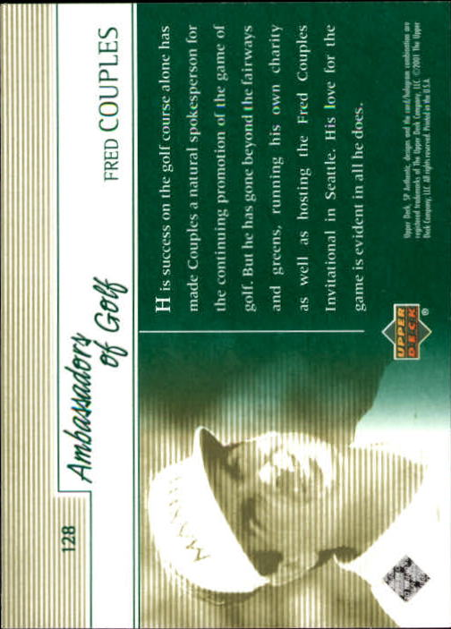2001 SP Authentic #128 Fred Couples AG back image