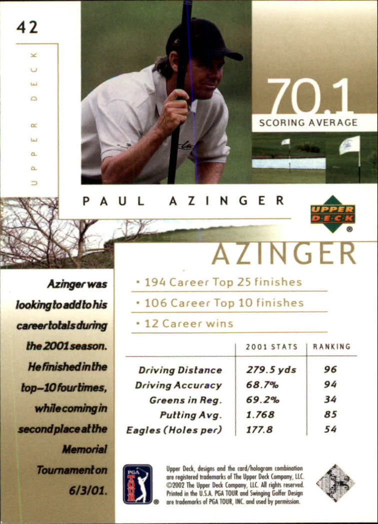 2002 Upper Deck #42 Paul Azinger back image