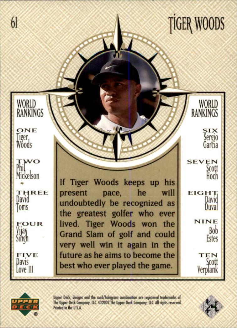 2002 Upper Deck #61 Tiger Woods NWO back image