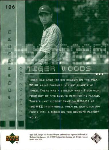 2002 Upper Deck #106 Tiger Woods LB back image