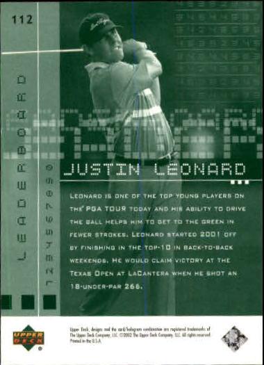 2002 Upper Deck #112 Justin Leonard LB back image