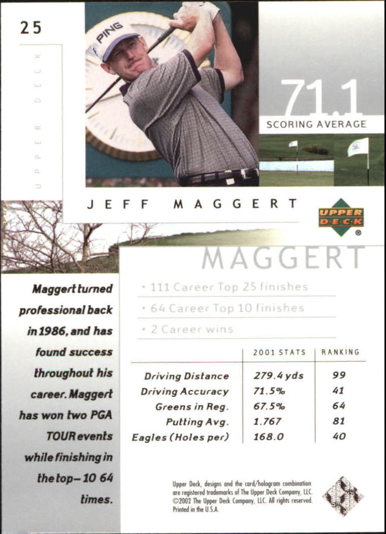 2002 Upper Deck Silver #25 Jeff Maggert back image