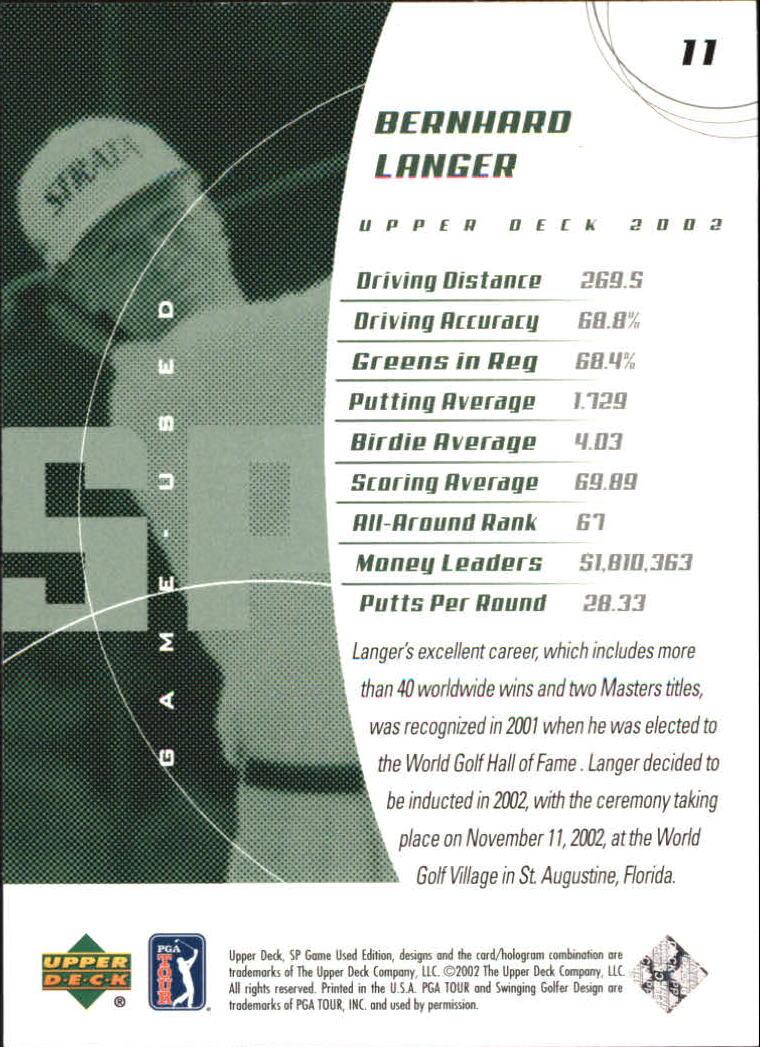 2002 SP Game Used #11 Bernhard Langer back image