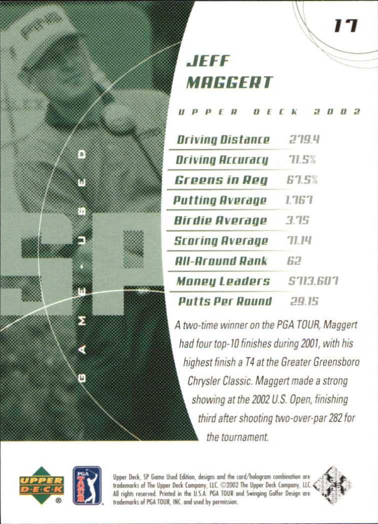 2002 SP Game Used #17 Jeff Maggert back image