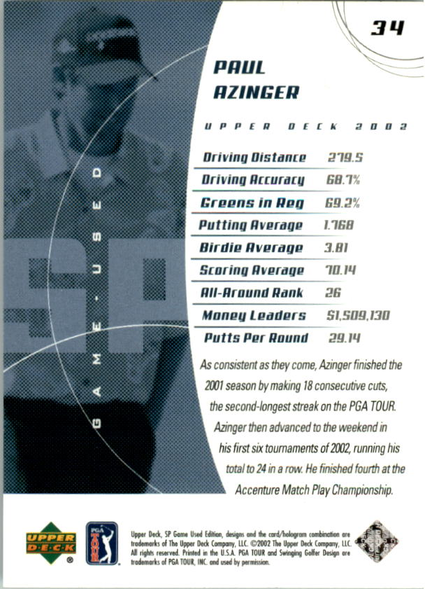 2002 SP Game Used #34 Paul Azinger back image