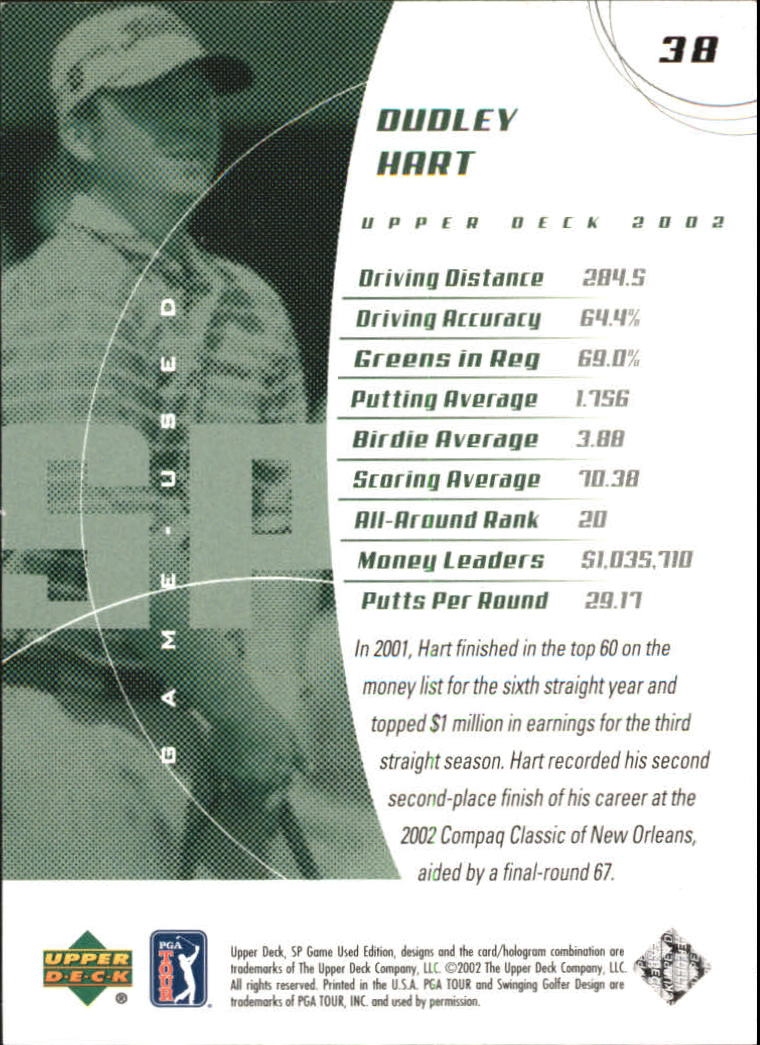 2002 SP Game Used #38 Dudley Hart back image
