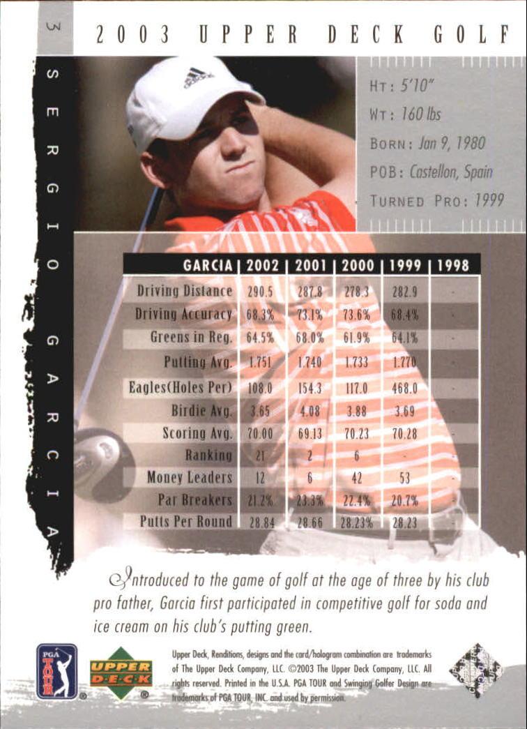 2003 Upper Deck Renditions #3 Sergio Garcia back image