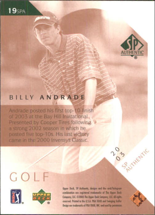 2003 SP Authentic #19 Billy Andrade back image