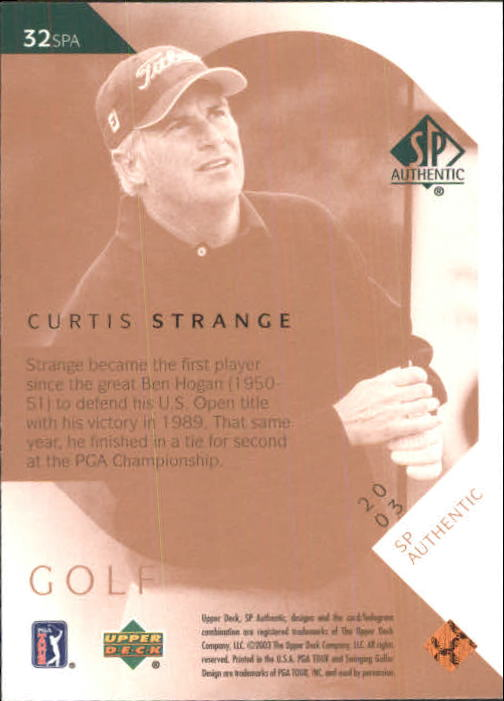 2003 SP Authentic #32 Curtis Strange back image