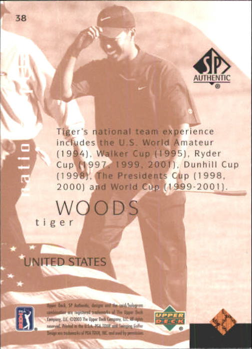 2003 SP Authentic #38 Tiger Woods NP back image