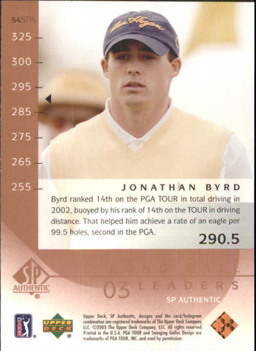 2003 SP Authentic #54 Jonathan Byrd LBL back image