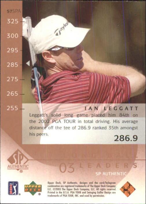 2003 SP Authentic #57 Ian Leggatt LBL back image