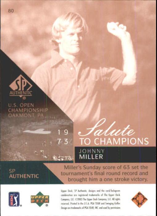 2003 SP Authentic #80 Johnny Miller SC/1973 back image