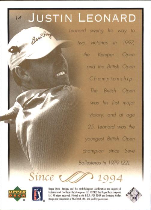 2003 Upper Deck #14 Justin Leonard back image