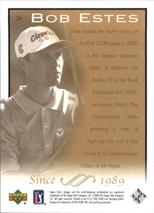 2003 Upper Deck #24 Bob Estes back image
