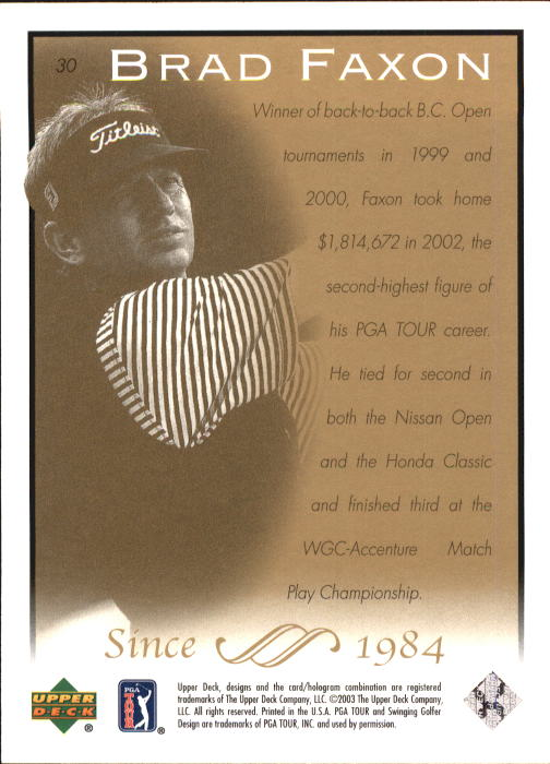 2003 Upper Deck #30 Brad Faxon back image