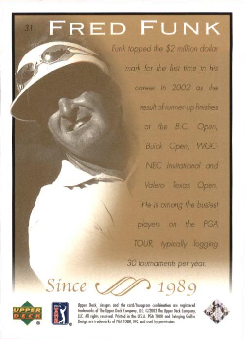 2003 Upper Deck #31 Fred Funk back image