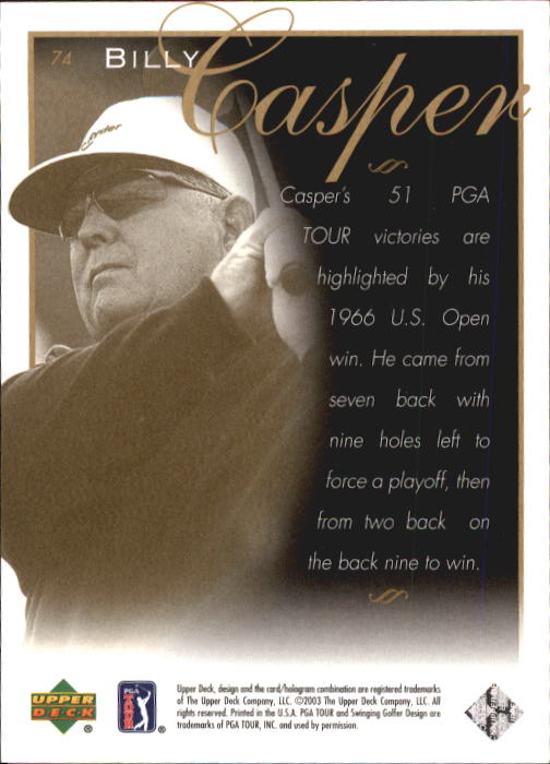 2003 Upper Deck #74 Billy Casper LGD back image