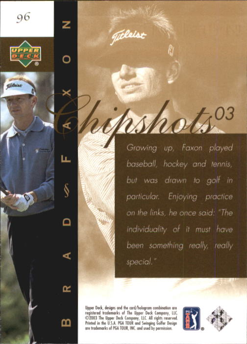 2003 Upper Deck #96 Brad Faxon CS back image