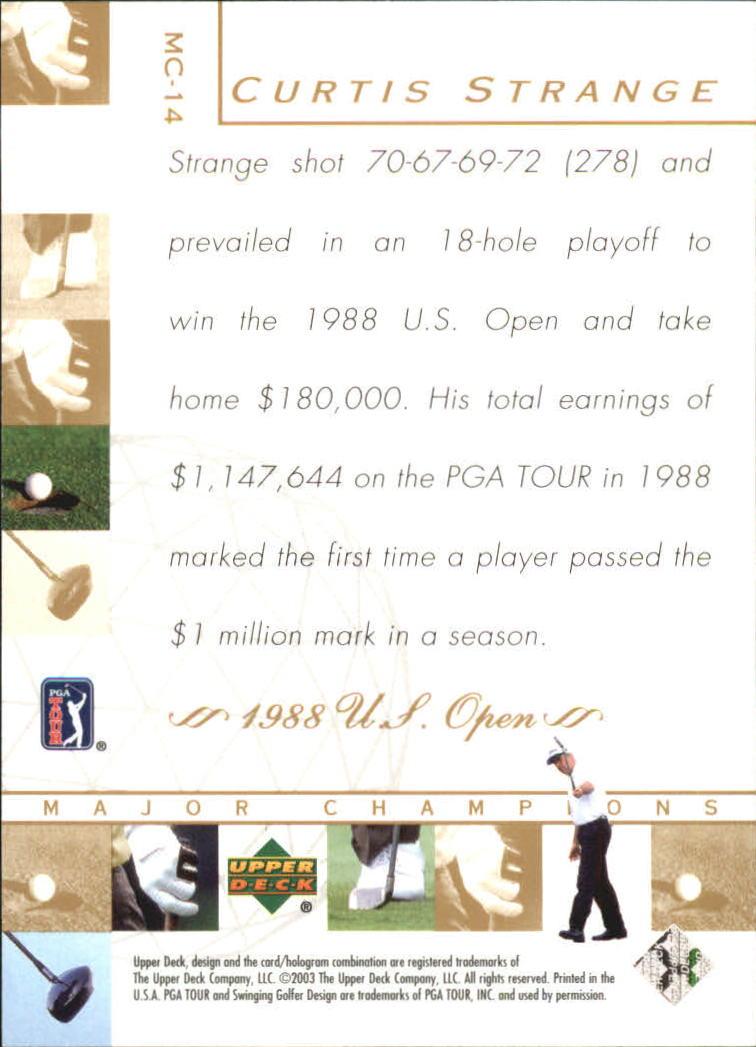 2003 Upper Deck Major Champions #14 Curtis Strange 88 US Open back image