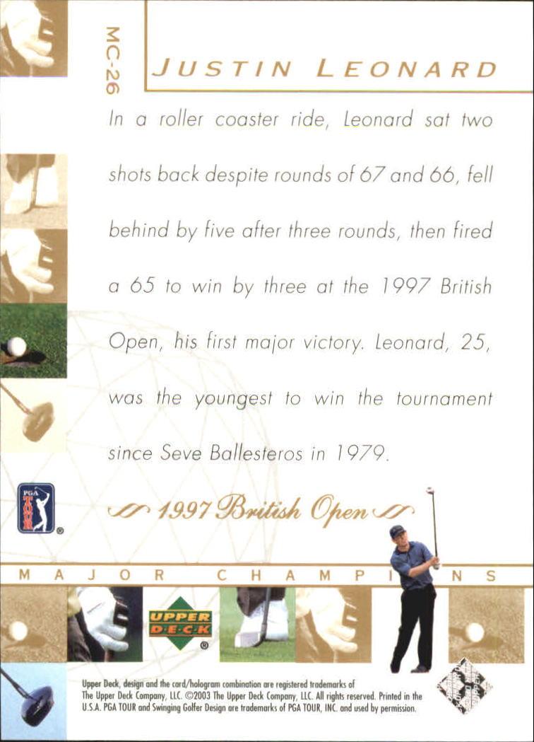 2003 Upper Deck Major Champions #26 Justin Leonard 97 British back image