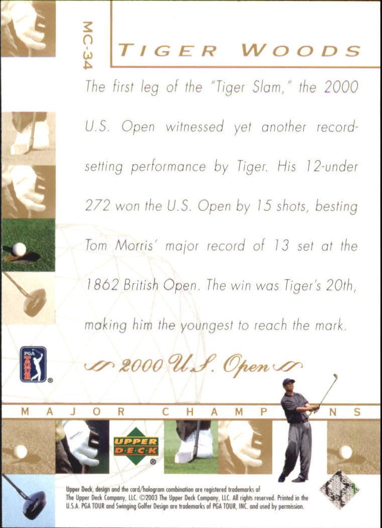 2003 Upper Deck Major Champions #34 Tiger Woods 00 US Open back image